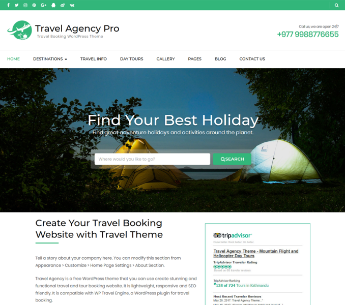 Travel Agency Pro WordPress Theme