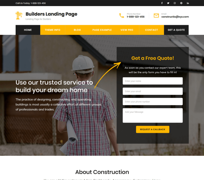 Builders Landing Page Free WordPress theme