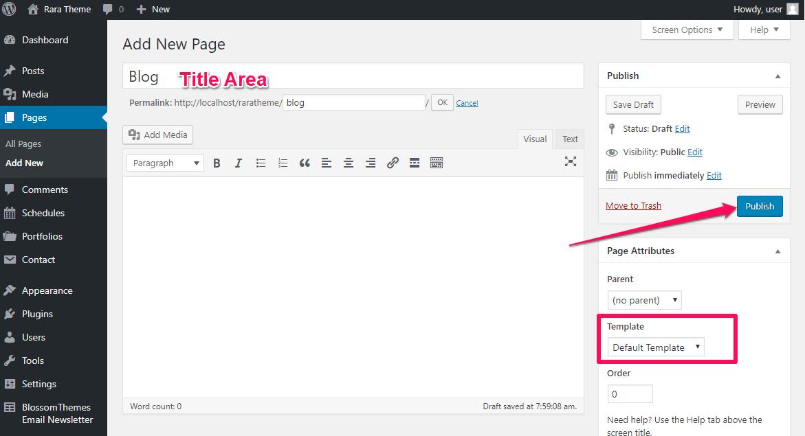 Create a blog page raratheme