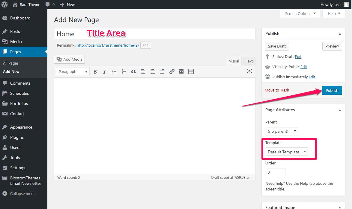 Create a homepage rarathemee