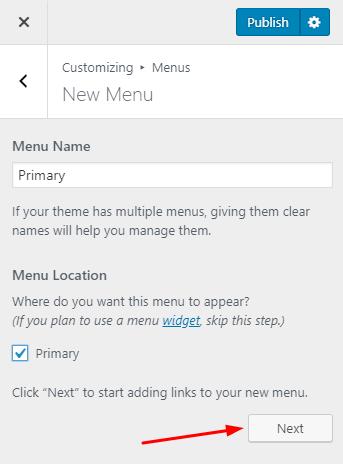Enter the menu name
