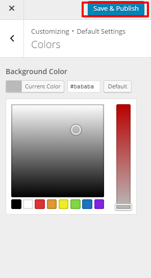 color for app landing page