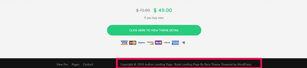 footer credit settings author landing page