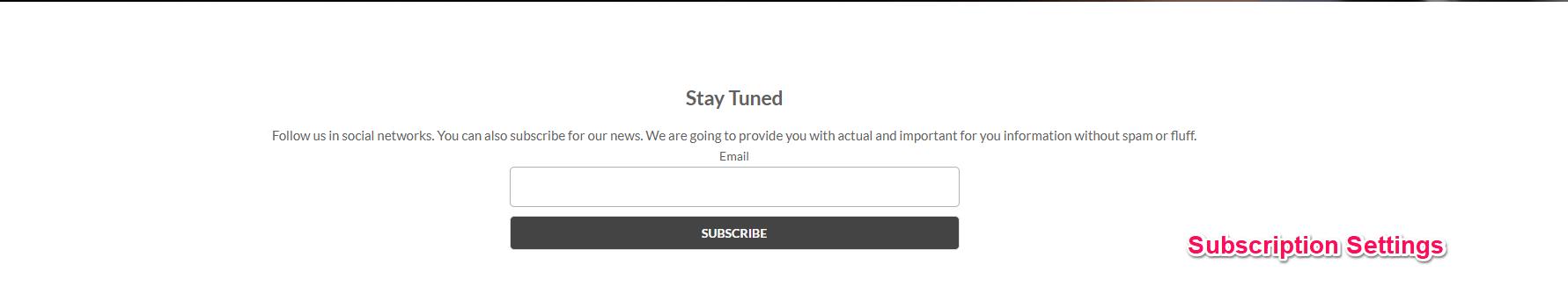 Subscription Settings