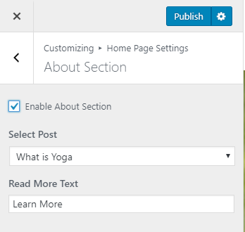 about section settings