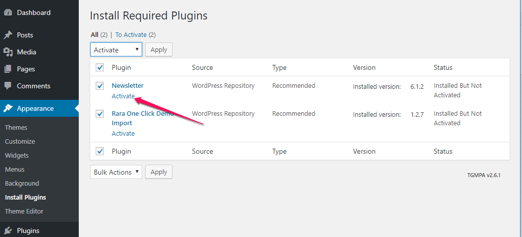 activate plugins for app landing page
