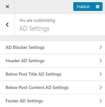 ad settings metro magazine pro