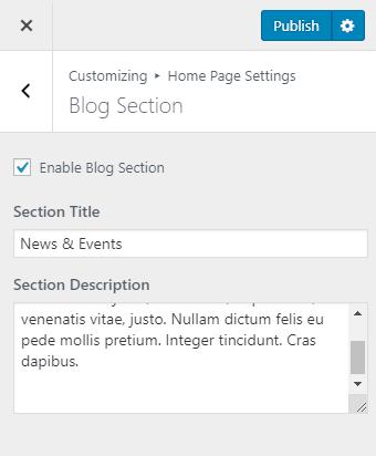 blog section settings
