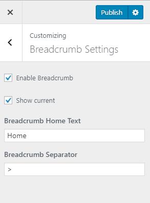 breadcrumb settings for app landing page