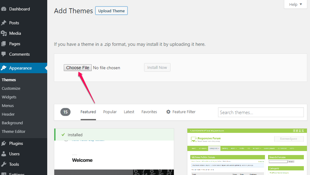 choose theme for app landing page