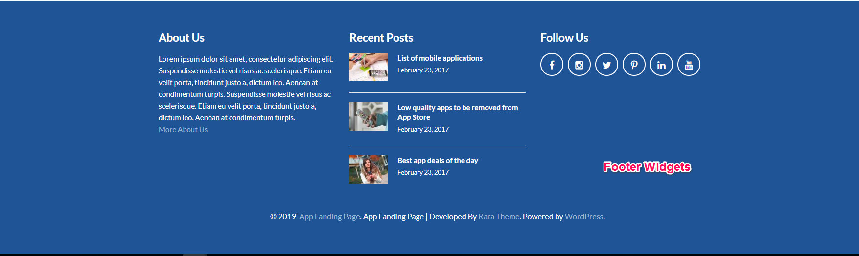 footer widgets for app landing page