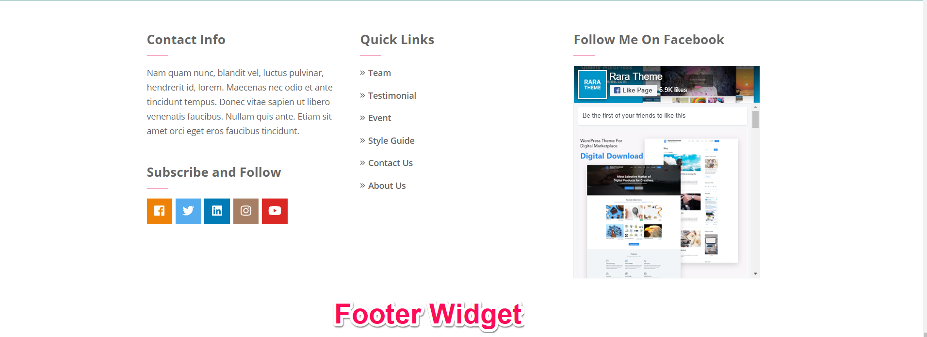 footer widgets for bakes and cakes pro