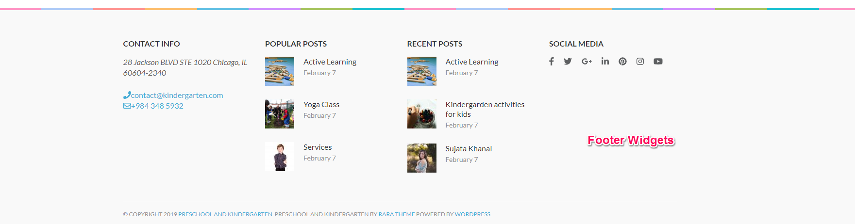 footer widgets for preschool and kindergarten