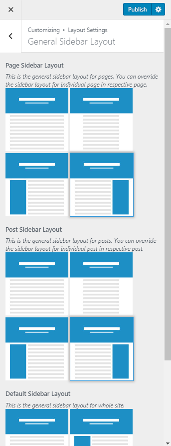 general sidebar layout influencer pro