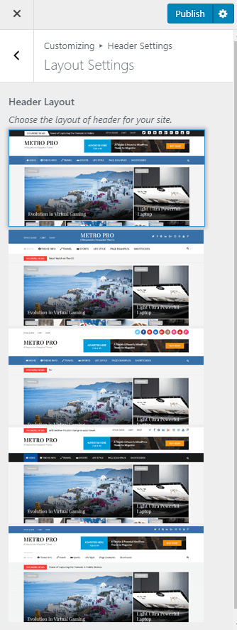 header layout settings metro magazine pro