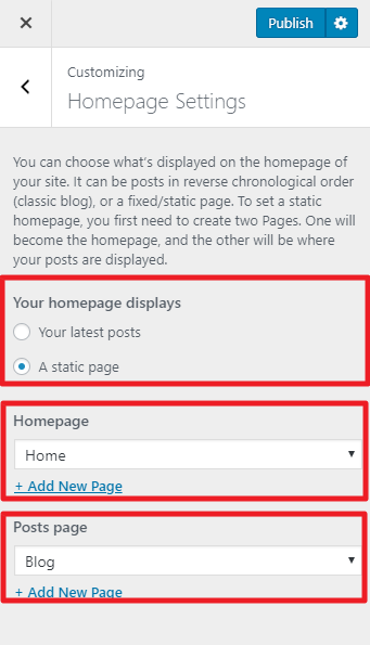 homepage settings influencer pro