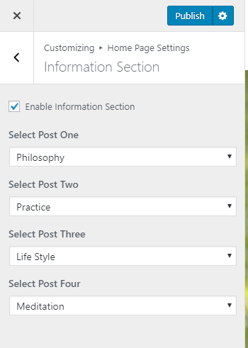 information section settings