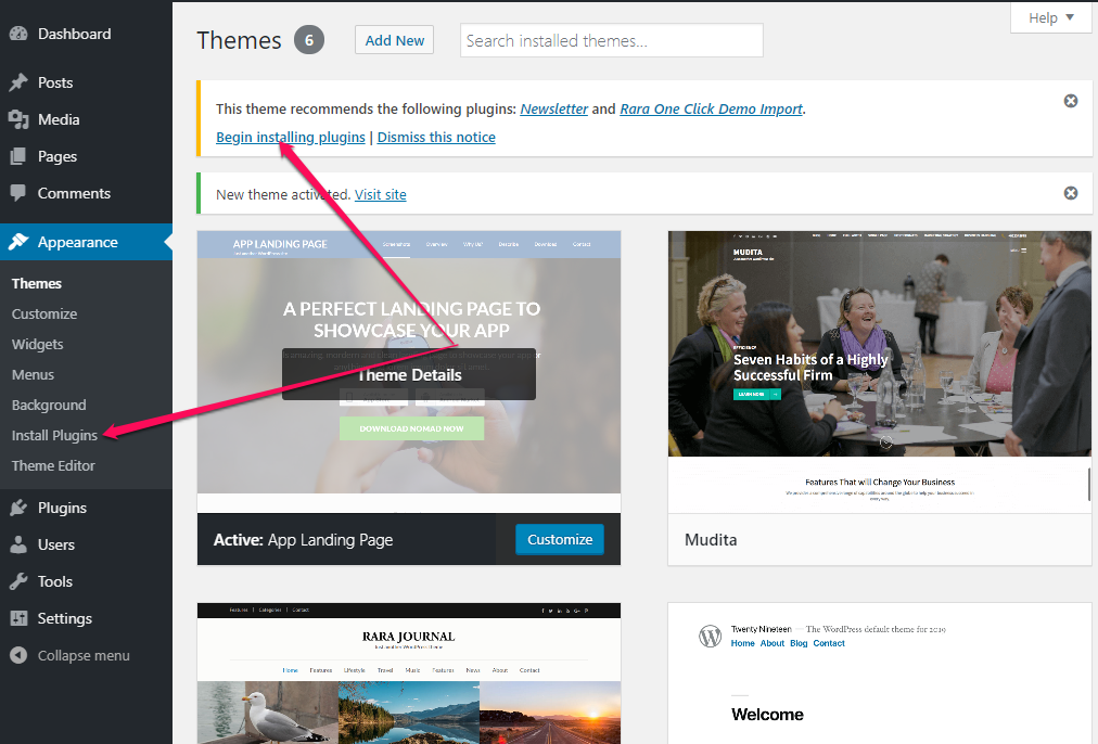 install recommended plugins for app landing page