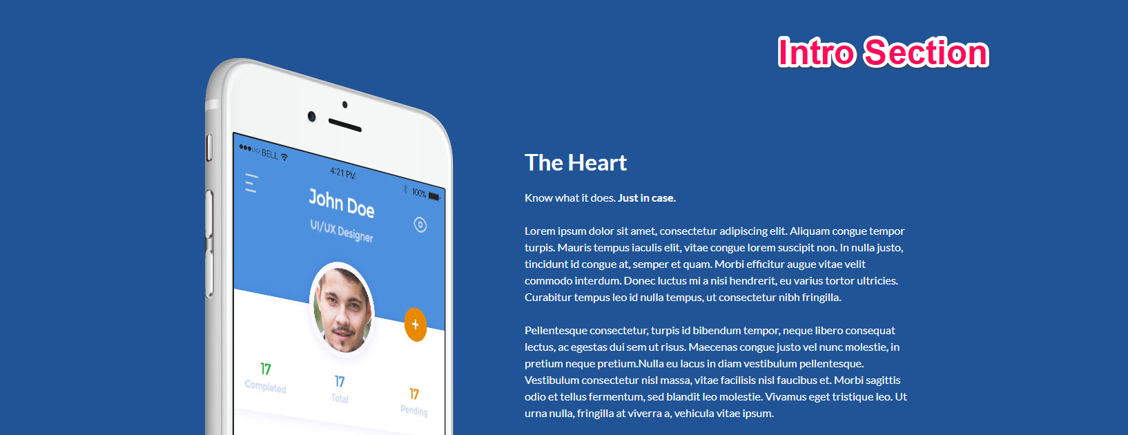 intro section for app landing page