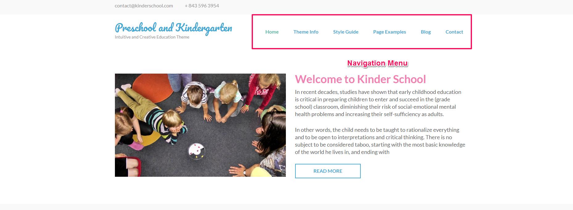 navigation menu for preschool and kindergarten