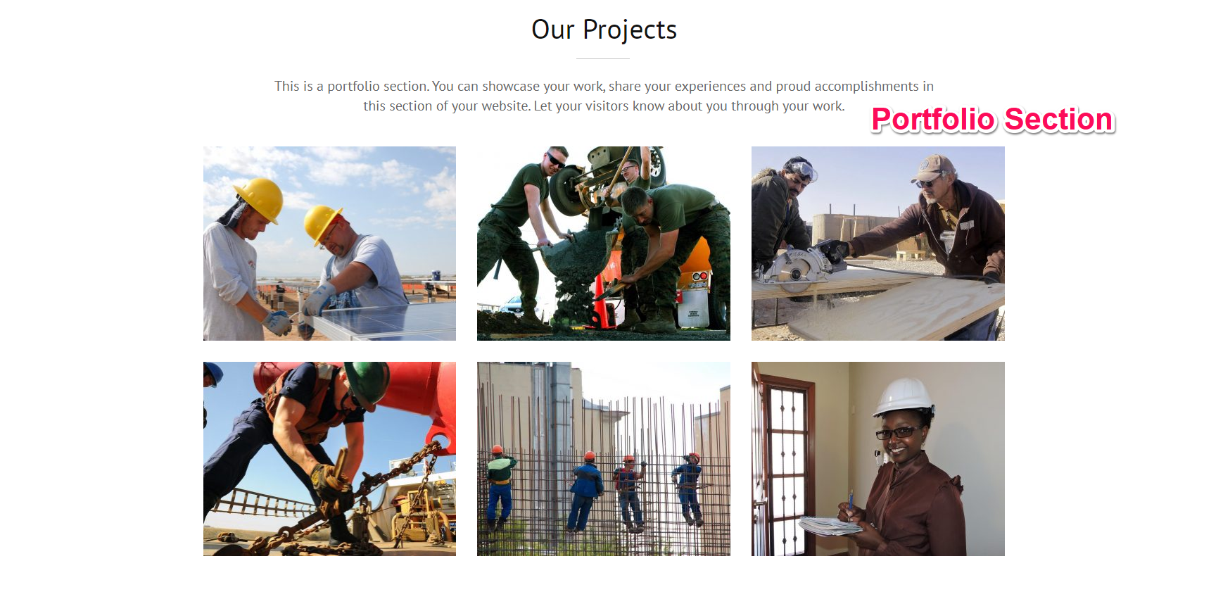 portfolio section for construction company