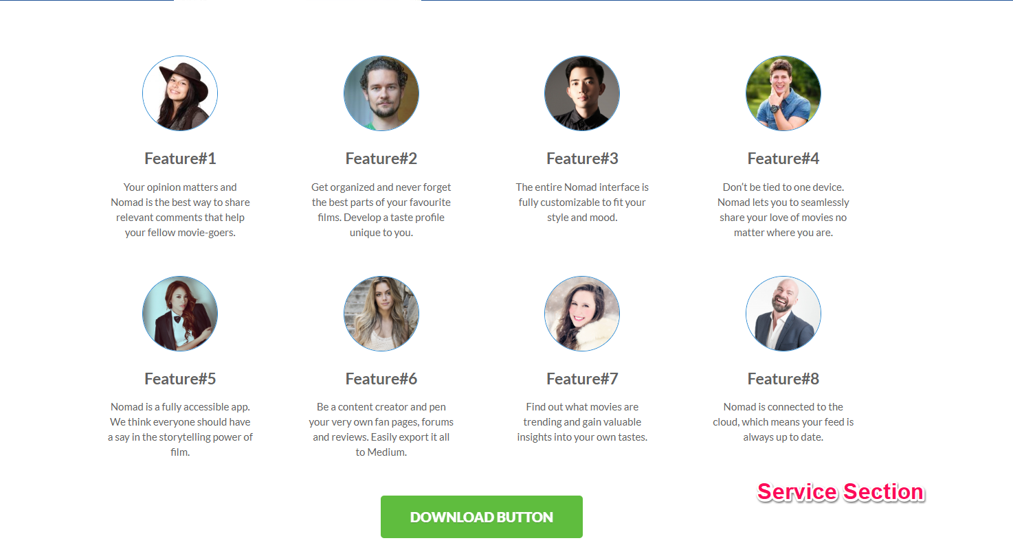 services section for app landing page