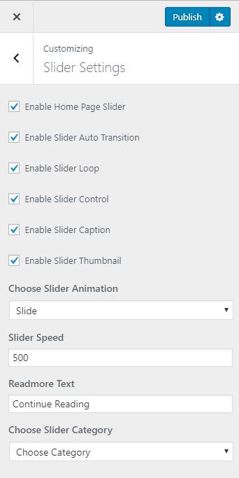 slider settings for the minimal