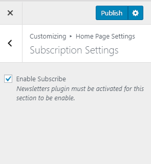 subscription settings for app landing page