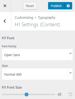 typography settings for influencer pro